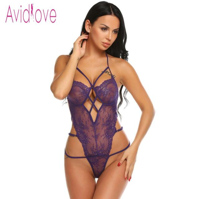 Avidlove Women Bodystocking Costumes One Piece Sexy Lingerie Bodysuit Halter Sheer Lace Teddy Nightwear 3