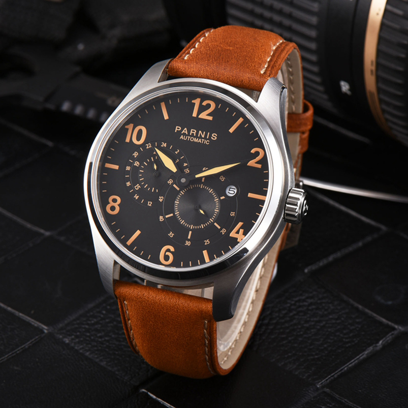 Parnis Automatic Watch Men 44mm Mechanical Watches Luminous Silver PVD Case Date 21 Jewel Movement Sapphire relogio masculino