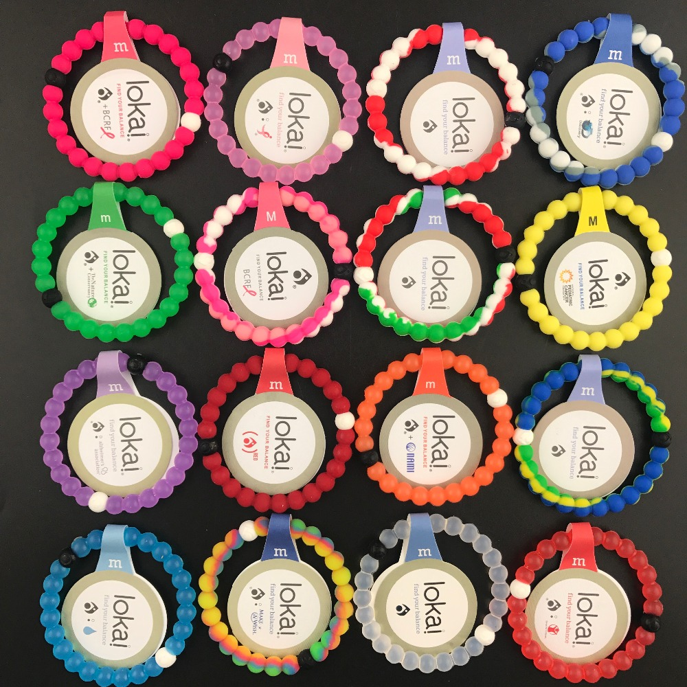 200pcs/lot DHL Free fashion Lokai bracelets new pink 47 colors 4 sizes silicone beads Jewelry