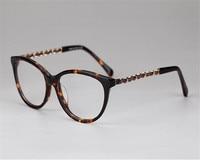 DOWER ME Women Elegant Fashion Full Rim Acetate PU Metal Chain Brand Design Luxury Eyeglass Myopia
