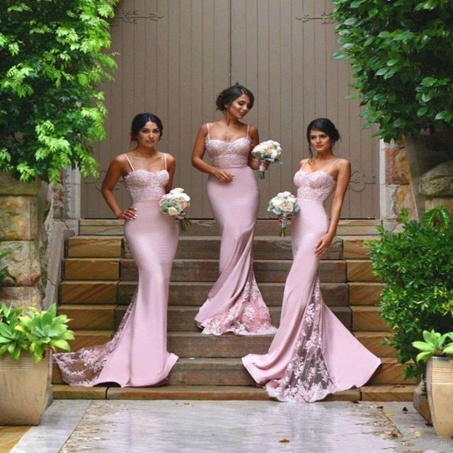 Y Bridesmaid Dresses Spaghetti Strap Vestido De Festa Casamento Sheer Lace Liques Blush Peach Mermaid