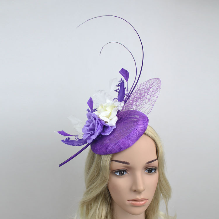 European Bride Wedding Headwear Long Feather Sinamay Fascinator Hat Purple Mesh Hat Fabric Flower Headpiece Women For Tea Party