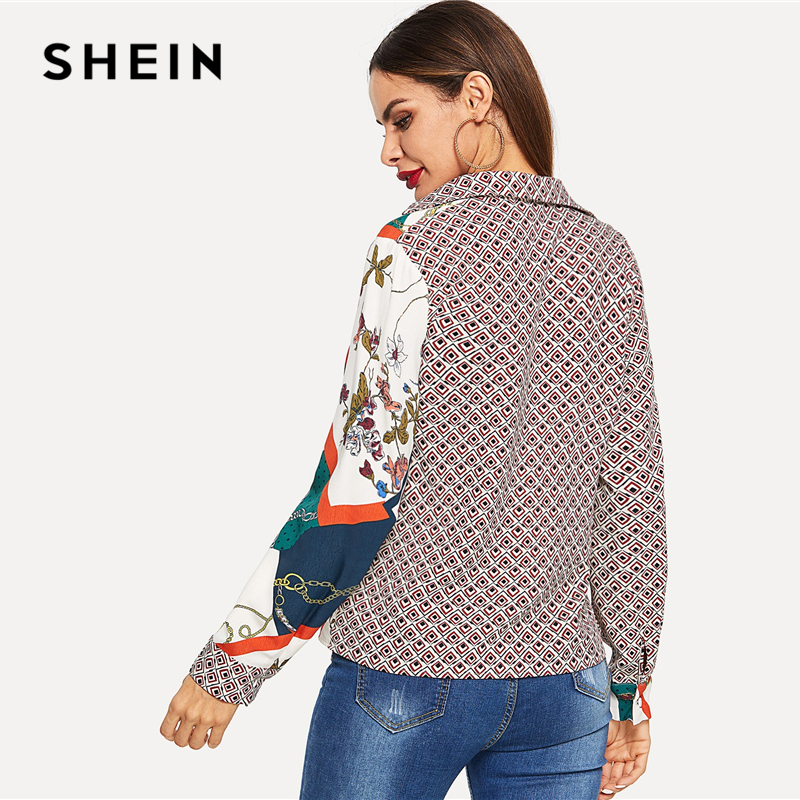 ae8f386a8d SHEIN Multicolor Color Block Mixed Print V Neck Shirt Elegant Workwear Long  Sleeve Pullover Women 2018 Autumn Modern Lady Shirts-in Blouses & Shirts  from ...