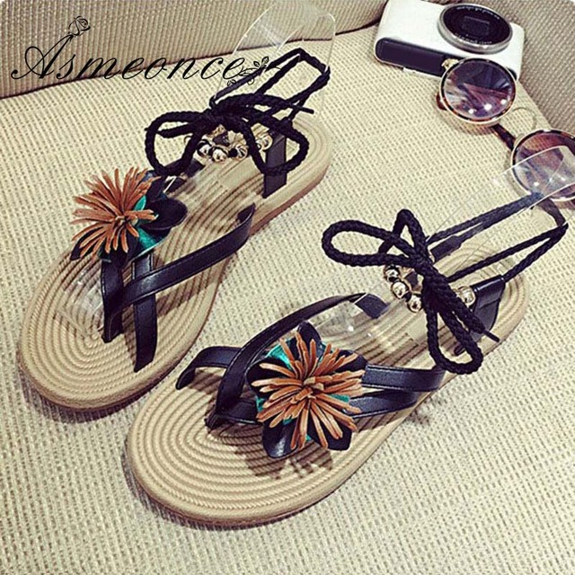 bce16d02e Women Sandals Lace Up Leather Gladiator Cute Sweet Flower Beads Lady Sexy Flip  Flops Woman Thong