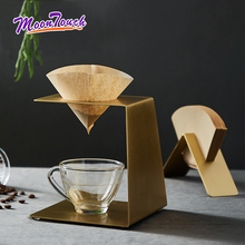 Brewing Coffee Filter Paper Holder Hand Drip Rack Solid Brass Household Filter Cup Bracket Set Coffee Pot Filter Shelf Storage stainless steel vietnamese coffee pot drip coffee machine filter type brewing teapot no need paper filter coffee cup