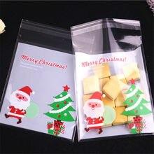 Atacado 100 pçs/lote 10x13cm Sacchetti Plastica Embalagens Para Doces Sacos Com Saco de Papai Noel de Natal Novo Design