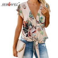 SEBOWEL été imprimé Floral Blouse et chemise femmes nouveau Sexy col en V à volants manches cravate noeud boutonné Blouses et hauts pour Femme
