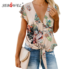 SEBOWEL Summer Floral Print Blouse and Shirt Women New Sexy V Neck Ruffle Sleeve Tie Knot Button Down Blouses and Tops for Femme