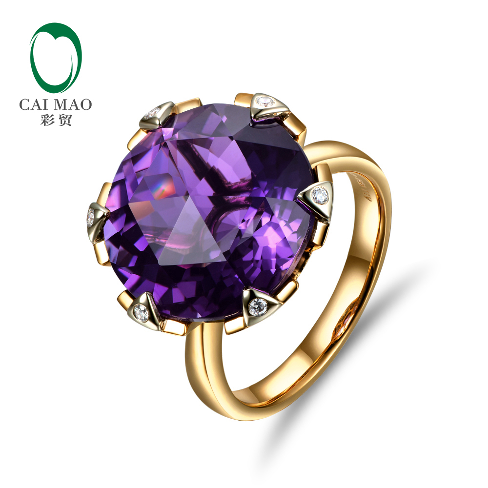 New Free shipping 11.68ct 15mm Round Purple Amethyst 14k Gold Natural Diamond Wedding Ring