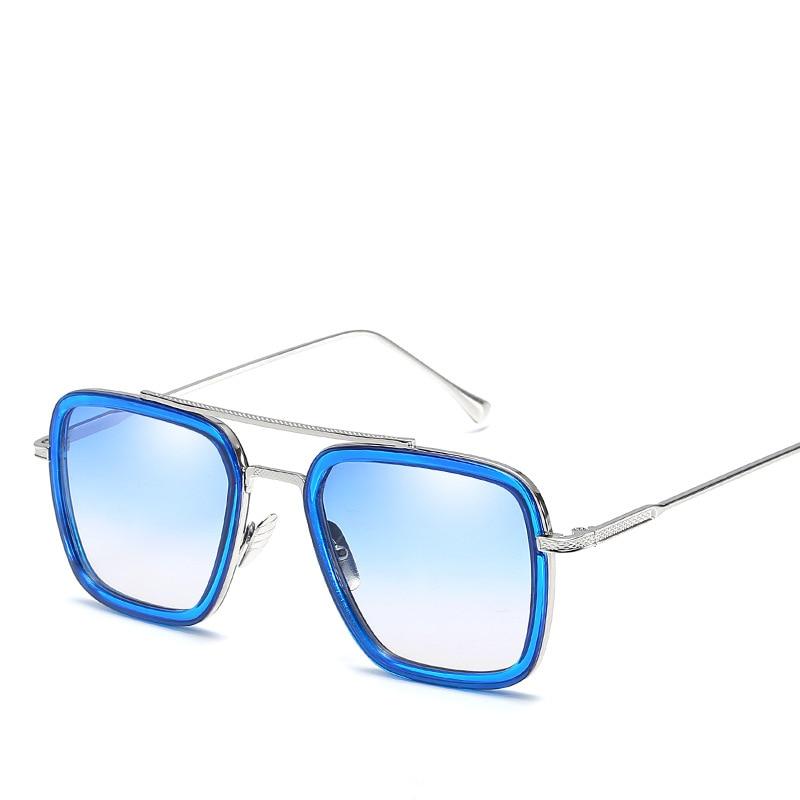 IRON MAN TONY Square Sunglasses Men Mirrored 2018 Design Brand Sunglasses Vintage Eyewear Frame Oculos Masculino Matsuda gozluk