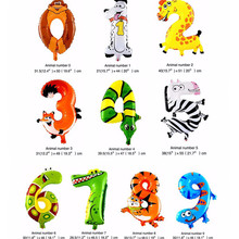 1PCS 16inch Animal Number Foil Balloons Kids Happy Birthday Party Supplies Wedding Decoration Gift Favors