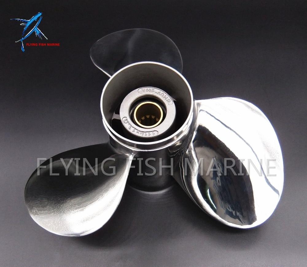 In acciaio inox elica 11 1/8x13-G per Yamaha 40hp 50hp Motore Fuoribordo 11 1/8x13-G