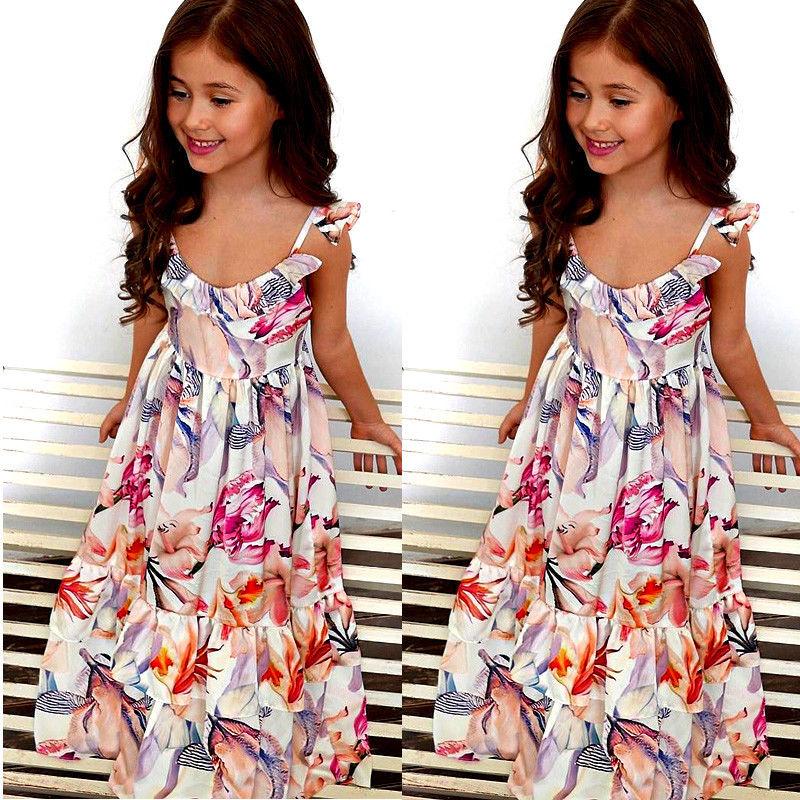 2017 New Brand Cute Girl Summer Floral Toddler Child Kids Baby Girl Dress Sleeveless Tutu Dress Colorful Sundress 3-10T