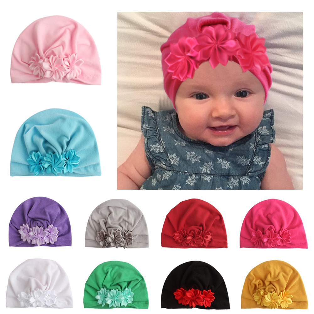 Nishine Infant Newborn Caps with Ribbon Flowers Cotton Blend Kont Turban Girls Stretchy Beanie Hat Baby Hair Accessories in Hair Accessories from Mother Kids