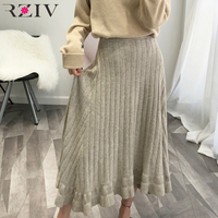 RZIV 2018 autumn winter female knitted sweater skirt casual solid color knit skirts high waist big skirt