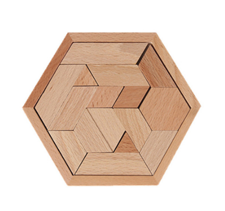 Kids Montessori Jigsaw Puzzles Geometric Shape Wooden Toys Creative Children Hexagonal Puzzle Board Educational Intelligence ToyPuzzles & Games
