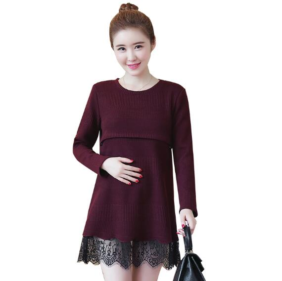 b2d3f365055 Maternity Clothes Lace Dresses Pregnant Nursing Dress Pregnancy Knitting  Sweater Autumn Long Sleeve Breastfeeding Clothing-in Dresses from Mother    Kids on ...