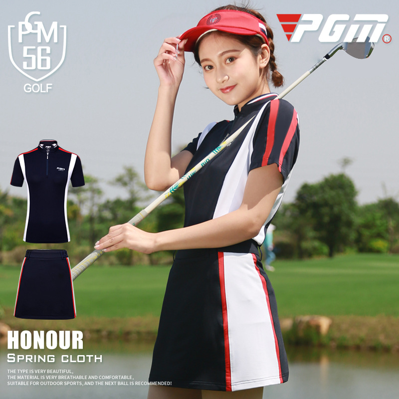 2018 PGM Golf Apparel Summer Breathable Quick-drying Golf Shirt Golf Short Sleeve Shirt Skirt For Women New Arrival Size XS-XL