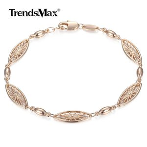 Image 1 - 6mm 585 Rose Gold Bracelet for Womens Girls Elegant Flowers Link Weaving Bracelet Fashion Wedding Jewelry Gift CB12