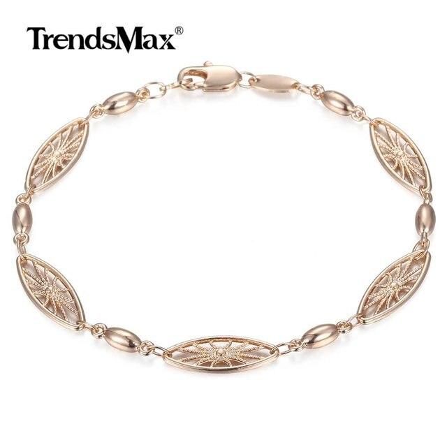 6mm 585 Rose Gold Bracelet for Womens Girls Elegant Flowers Link Weaving Bracelet Fashion Wedding Jewelry Gift CB12