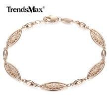 Bracelet or Rose 585, 6mm, Bracelet à maillons floraux, élégant, à la mode, bijoux de mariage, cadeau CB12, pour femmes filles