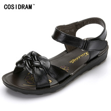 2017 Summer Women Sandals Genuine Leather Casual Summer Women Shoes Fashion Bowtie Female Footwear Peep Toe Beach Shoes SNE-520
