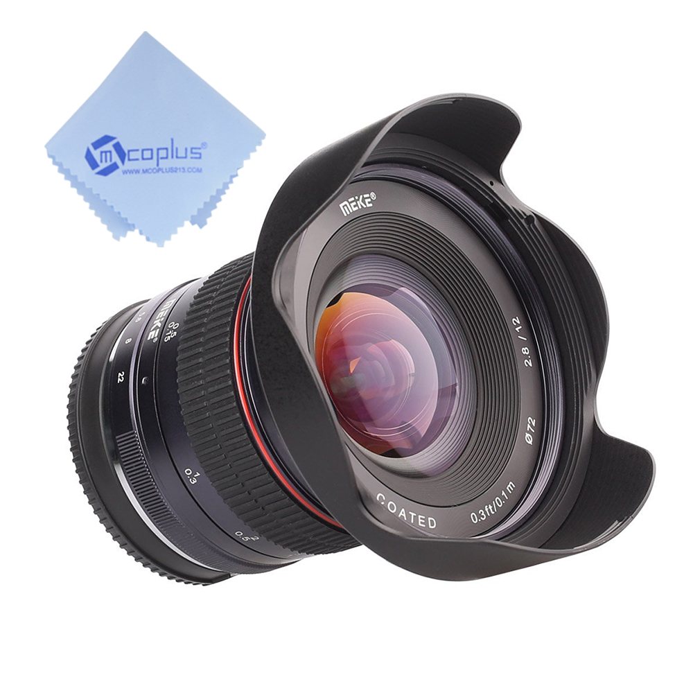 Meike 12mm f/2.8 Wide Angle Manual Focus Lens for Canon Mirrorless Camera with APS-C+1pcs Mcoplus cloth meike 12mm f 2 8 wide angle fixed lens with removeable hood for panasonic olympus mirrorless camera mft m4 3 mount with aps c