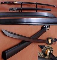 Black Folded Steel Full Tang Blade Handmade Japanese Samurai Katana Sword Sharp
