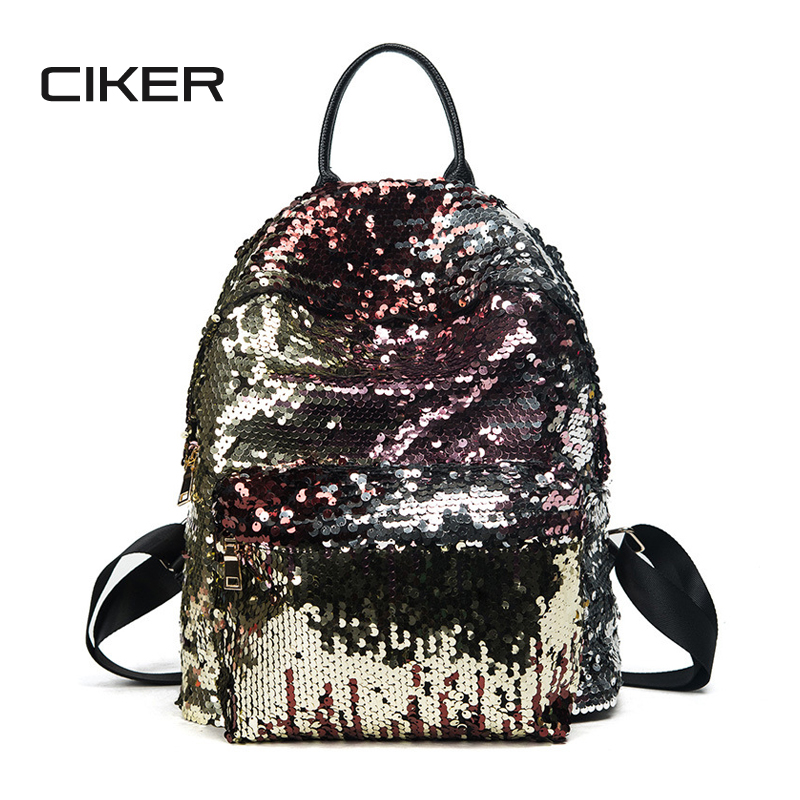 CIKER Fashion Women Backpack For Girls Sequins Backpacks Black Bagpack Female Travel Bag Bookbag New School Bags Ladies Mochilas 2016 spring new school bags for girls designer brand women backpack korean style bookbag shoulder bag wholesale kids backpacks