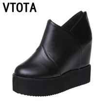 Vtota Туфли на платформе и танкетке Мода 2017 новые женские Zapatillas Mujer Повседневная plataforma высокий каблук женские Дамские кожаные туфли S3