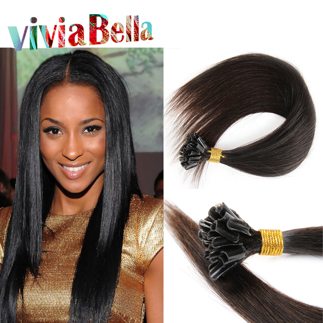 Indian Remy U Tip Hair Extensions 8 30 Natural Black Remy Human