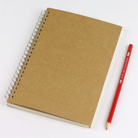 A5 Kraft Cover Vintage Coil Notebook Line Grid Line Blank Multi Functional Planner Office School Stationery