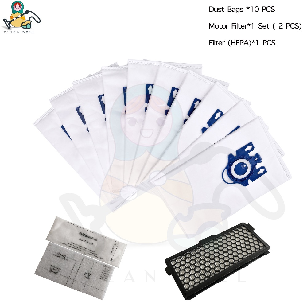 CLEAN DOLL HEPA Filter Motor Filter & 10 Dust Bags For Miele Vacuum Cleaner Bags  3D GN S5000 S8000 Complete C2 C3 S5 S8  SF-50