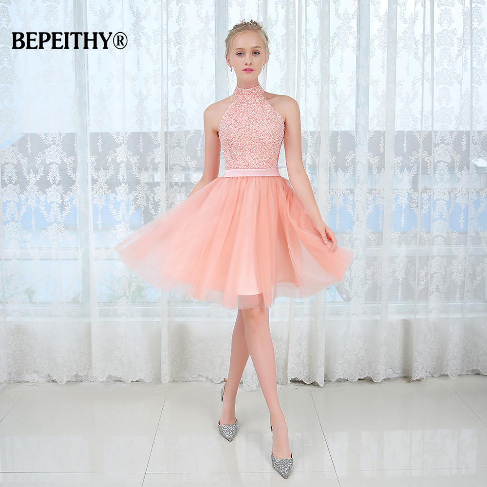 New Arrival O Neck Pearls Short Prom Dress 2020 Custom Made Beadings Vintage Cheap Evening Dress Party Gowns 2020