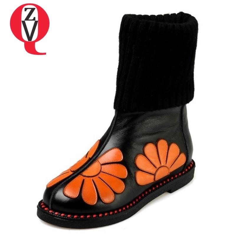 ZVQ in pelle Fatti A Mano di lana elegante fiore metà polpaccio stivali Autunno caldo di modo di Inverno stivali da neve donna partito scarpe tacco basso 34-43CN