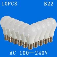 10 unids/lote B22 6w,9w,12w,15w,18w,21w, bombillas LED AC100V 240V hogar voltaje constante lámpara Interior SMD2835 led