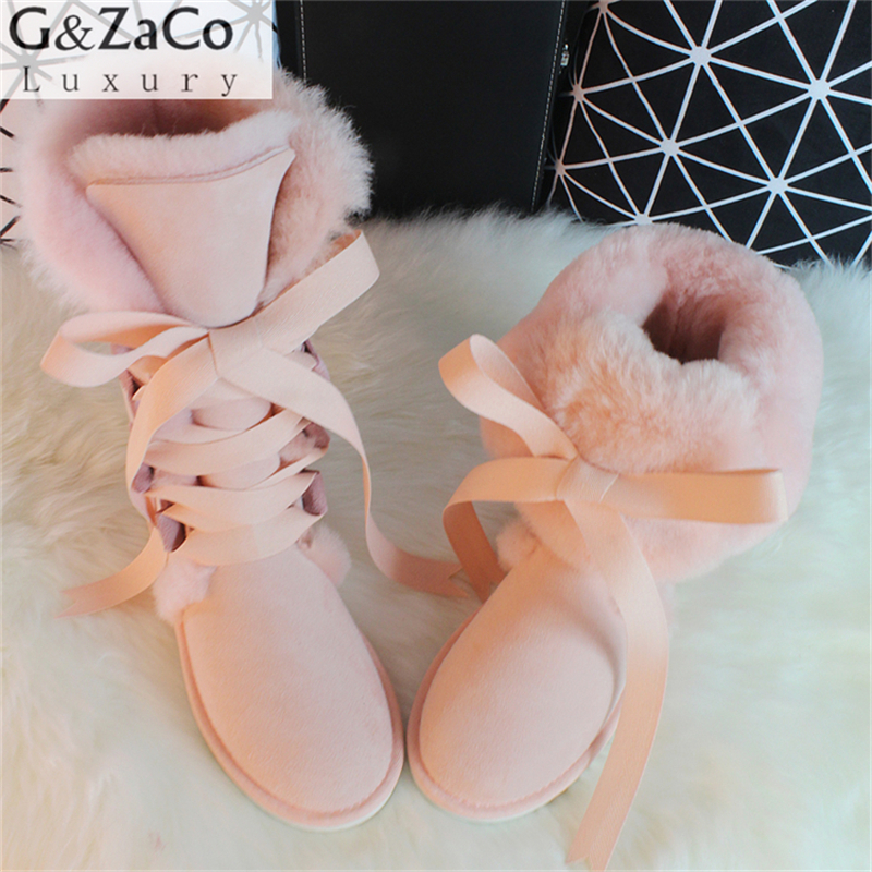 G&Zaco Luxury Winter Australia Knee high Boots Sheepskin Snow Boots Natural Wool Sheep Fur Boots Bow Flat Long Nubuck Boots 2016 rhinestone sheepskin women snow boots with fur flat platform ankle winter boots ladies australia boots bottine femme botas