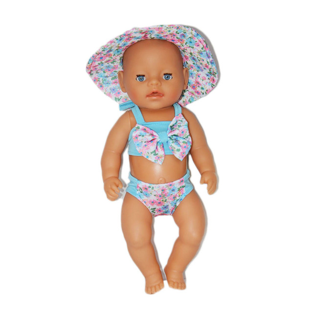 1e9ab4e456bce Factory Price 43cm Baby Doll Clothes Bathing Suit With Sun hat Doll  Accessories Children Best Gift ZD181