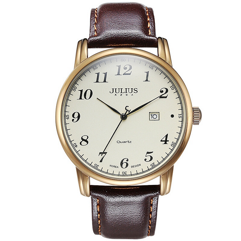 Hot Men Business Classic Waterproof Wrist Watch Fashion Casual Quartz Male Calendar Leather Band Watch Luxury Brand Julius Clock