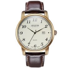 цена на Hot men business clasic dress wrist watches fashion casual quartz Male calendar leather band watch Luxury brand Julius 508 clock