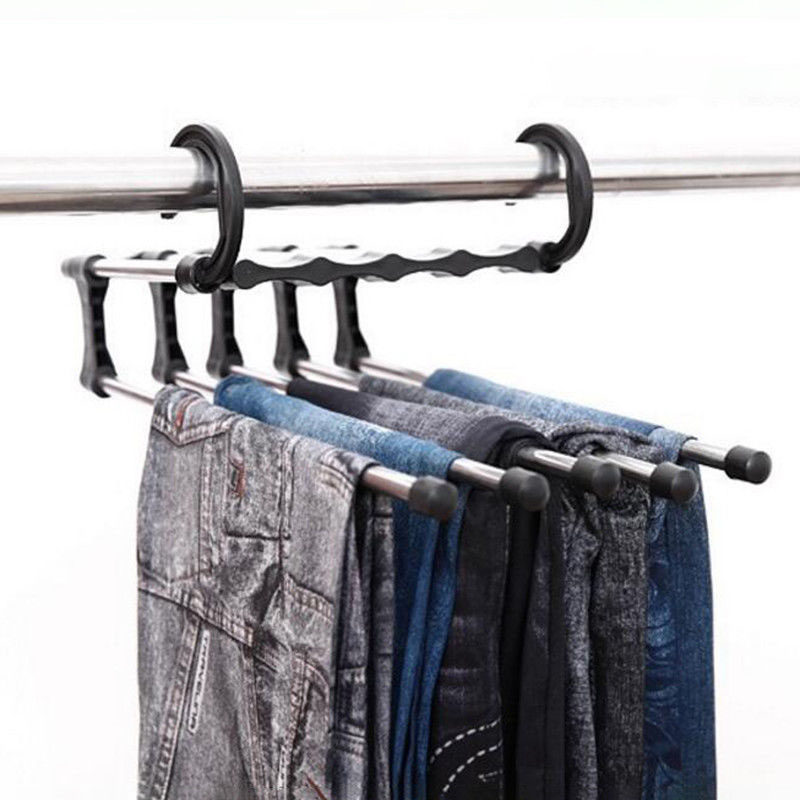 5 in 1 Multi-function Home Hanger Stainless Steel Plastic Clothes Hanger Rack TB Sale