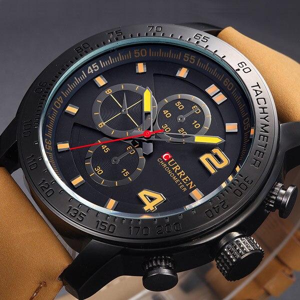 Prix pour 2016 Nouveau Curren Montres Hommes Quartz Heure Horloge Bracelet En Cuir Sport Hommes Robe Montre-Bracelet De Luxe Marque Casual Relogio Masculino