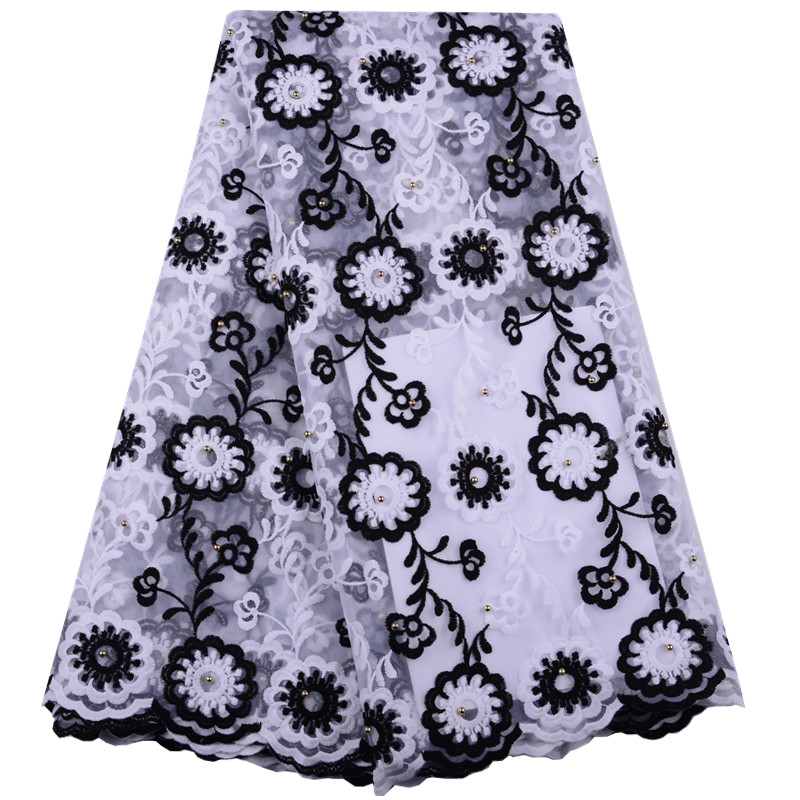 White Black African Lace Fabric High Quality French Lace Fabric Milk Silk Lace Nigerian Lace Fabric