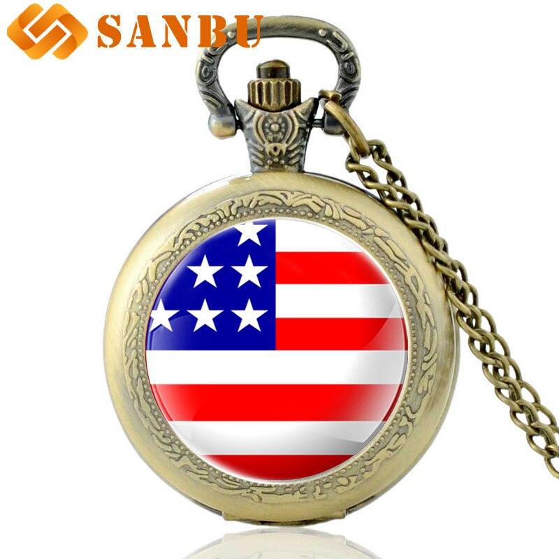 2018 New Fashion American Flag Bronze Quartz Pocket Watch Vintage Men Women Pendant Necklace Clock Gift
