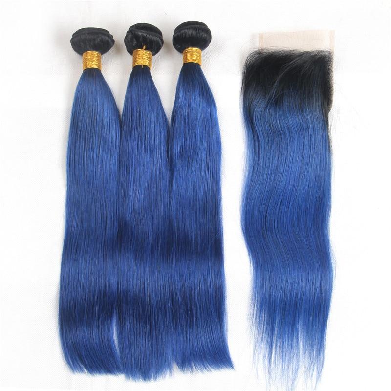 Human Hair Weaves Riya Hair 1b/ocean Blue Ombre Preuvian Human Hair Straight Hair 3/4 Bundles With 4*4 Lace Closure Pre-colored Fashion Remy Hair Hair Extensions & Wigs