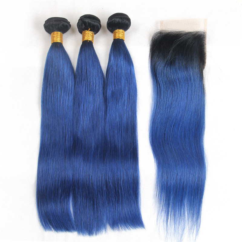 Riya Hair 1B/Ocean Blue Ombre Preuvian Human Hair Straight Hair 3/4 Bundles With 4*4 Lace Closure Pre-Colored Fashion Remy Hair
