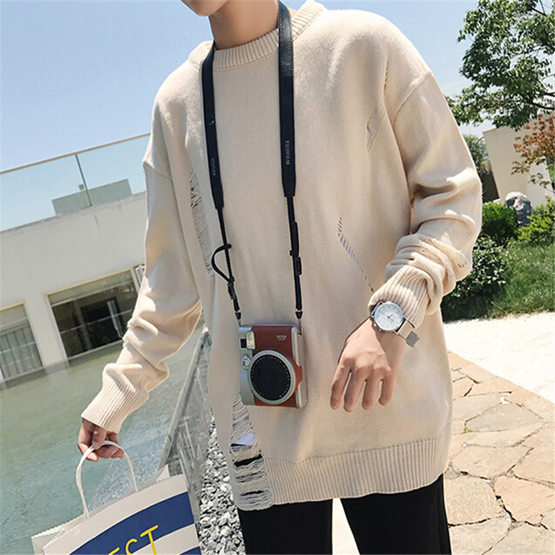 2017 Fashion Sweaters Men Casual Outwear Loose Knitted Pullovers Homme Design Japan Style New Sweaters M-XXL