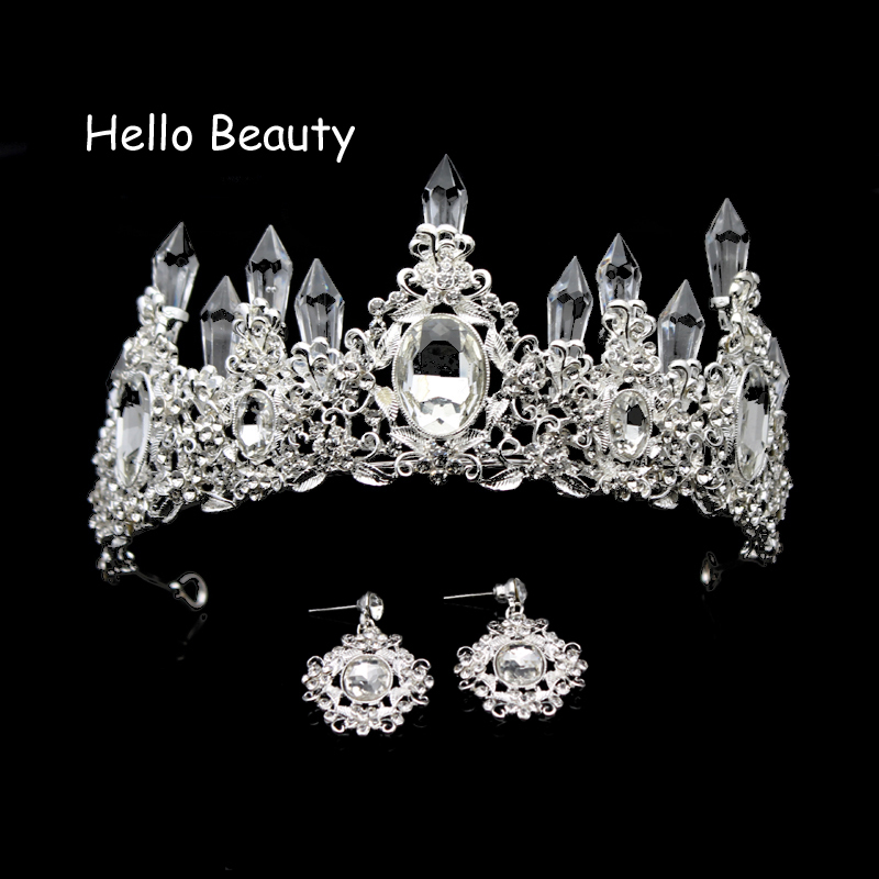 Silver Color Pageant Vintage Crown Rhinestone Bridal Tiara Bridesmaid Hair Accessories Crystal Prom Wedding Tiaras And Crowns