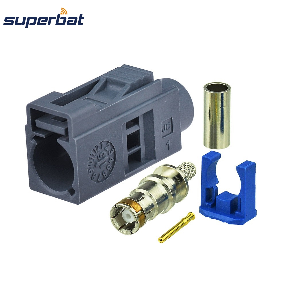 Superbat Fakra G Grey/7031 Jack Female Remote Control Keyless Entry Crimp RF Coaxial Connector For Cable RG316 RG174 LMR100