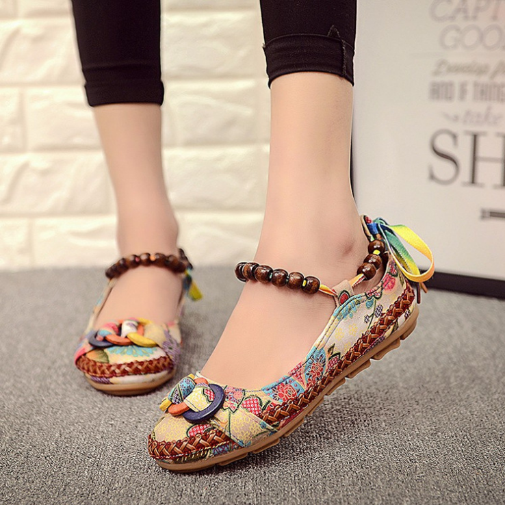 Plus size42 Casual Flat Shoes Women Flats Handmade Beaded Ankle Straps Loafers Zapatos Mujer Retro Ethnic Embroidered Shoes 25